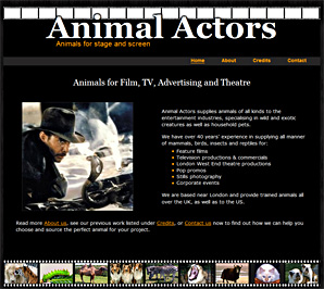 Animal Actors, suppliers of trained animals to film, TV, photography and theatre