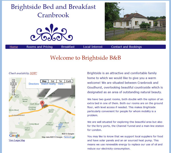 Brightside's home page, non-optimised, as it would appear when the browser is resized.