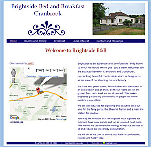 Brightside b&b, Cranbrook, Kent. Website by Applegreen, website design in Kent UK.