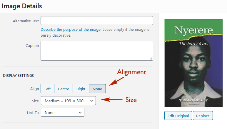 Images options in WordPress