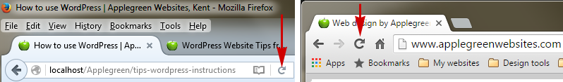 Refresh buttons: the cicular arrow on Firefox and Chrome browsers.
