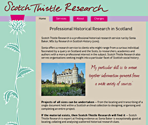 Scotch Thistle Research, historical research consultancy based in Scotland. Website by Applegreen, website design in Kent UK.