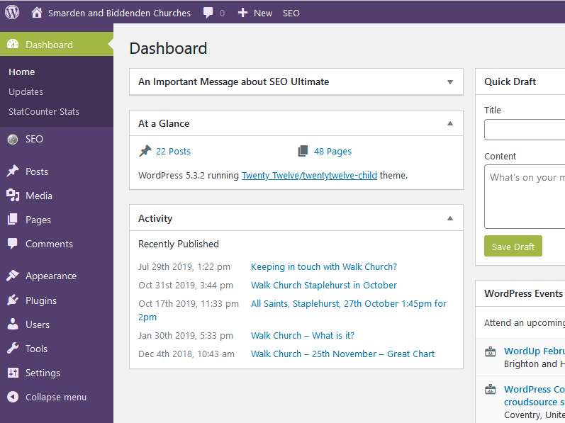 The WordPress dashboard, use for editing your WordPress CMS website