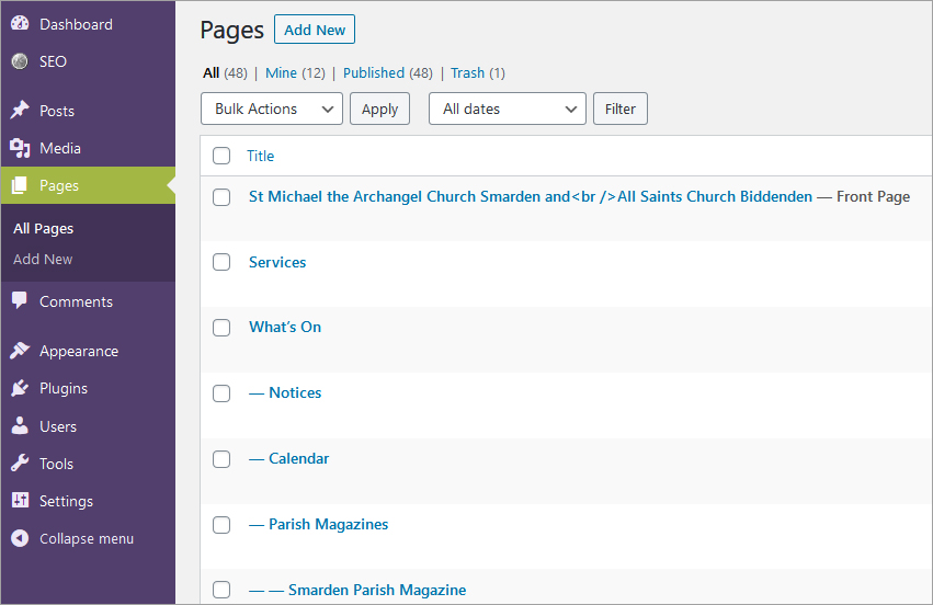 The WordPress page list