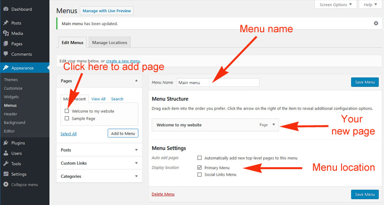 WordPress: adding a new page to the navigation