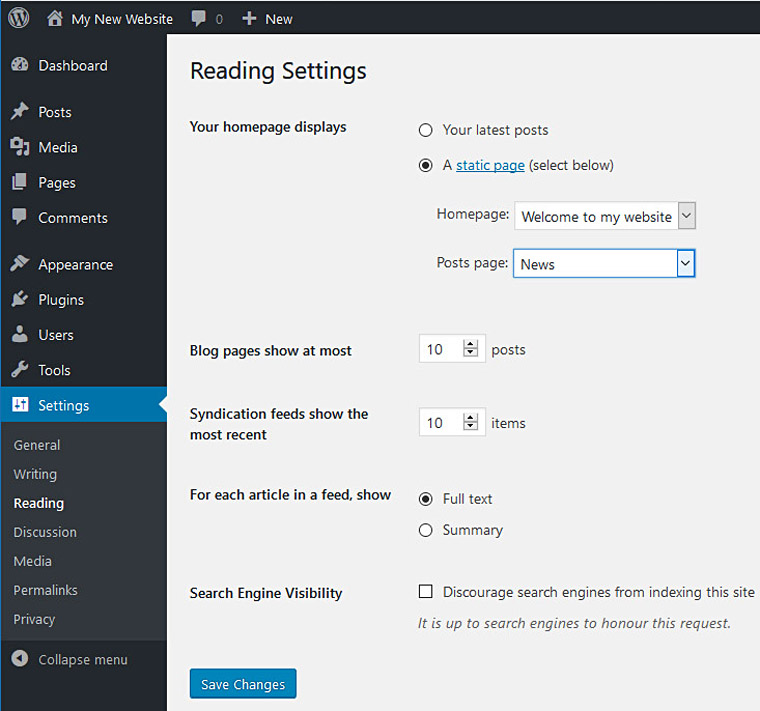 WordPress: setting a static home page